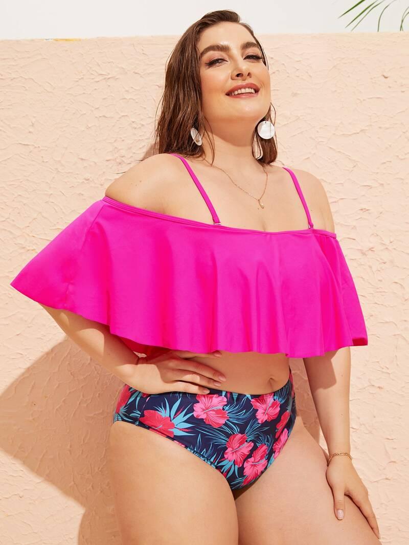 new styles f8cd9 4e739 Neon Rosa Bikini Set mit Schößchenärmeln in Übergröße