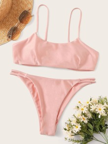 Spaghetti Strap Top With Low Rise Bikini Set