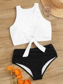 Knot Hem Top With High Waist Bikini