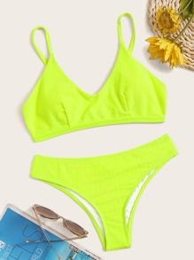 Neon Lime Triangle Bikini Set