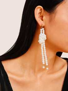 Faux Pearl Beaded Tassel Drop Earrings 1pair