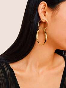 Double Ring Drop Earrings pair