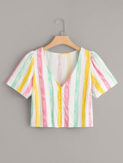 Plus Colorful Striped V-Neck Blouse