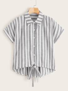 Knot Hem Button Front Striped Blouse