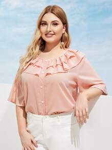 Plus Button Front Ruffle Trim Blouse