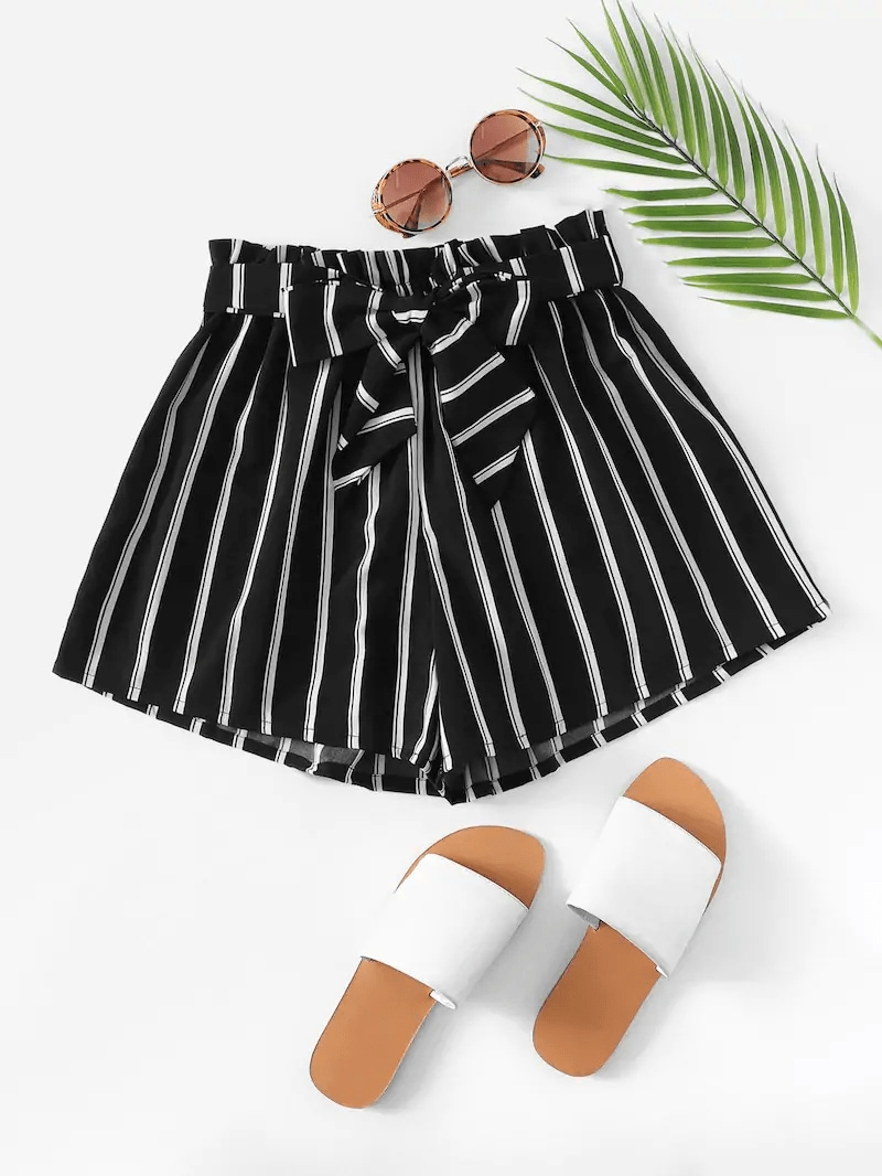 Plus Striped Paper Bag Belted Shorts