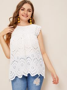 Plus Contrast Lace Eyelet Embroidery Blouse