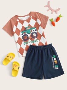 Toddler Boys Car & Geo Print Pajama Set