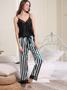 Lace Trim Cami & Striped Pants PJ Set