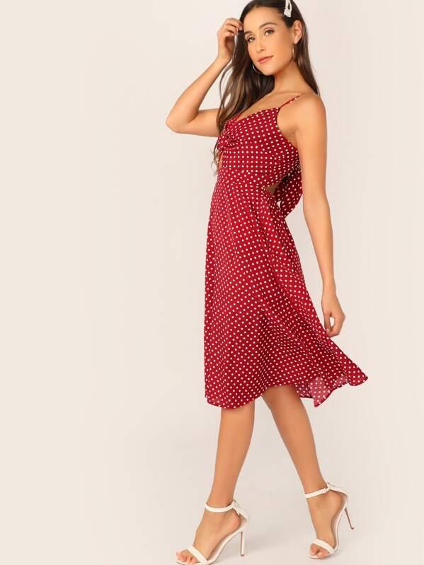 8228d7ef Dot Print Twist Front Cami Dress | SHEIN UK