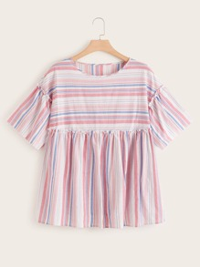 Plus Colourful Stripe Frill Smock Blouse