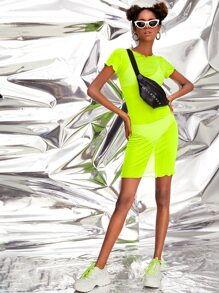 Neon Lime Frill Trim Sheer Mesh Dress Without Underwear