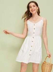 Solid Button Front Shirred Slip Dress