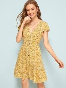 Ditsy Floral Button Front Swing Dress