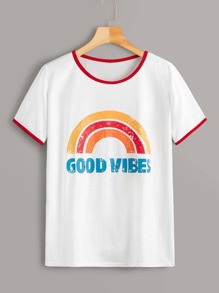 Rainbow & Letter Print Piping Trim Ringer Tee
