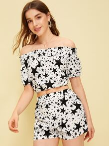 Star Print Off The Shoulder Shirred Top With Shorts