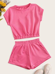 Solid Elastic Waist Tee With Shorts Set