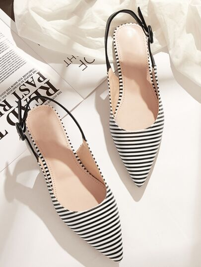 Point Toe Striped Slingback Flats