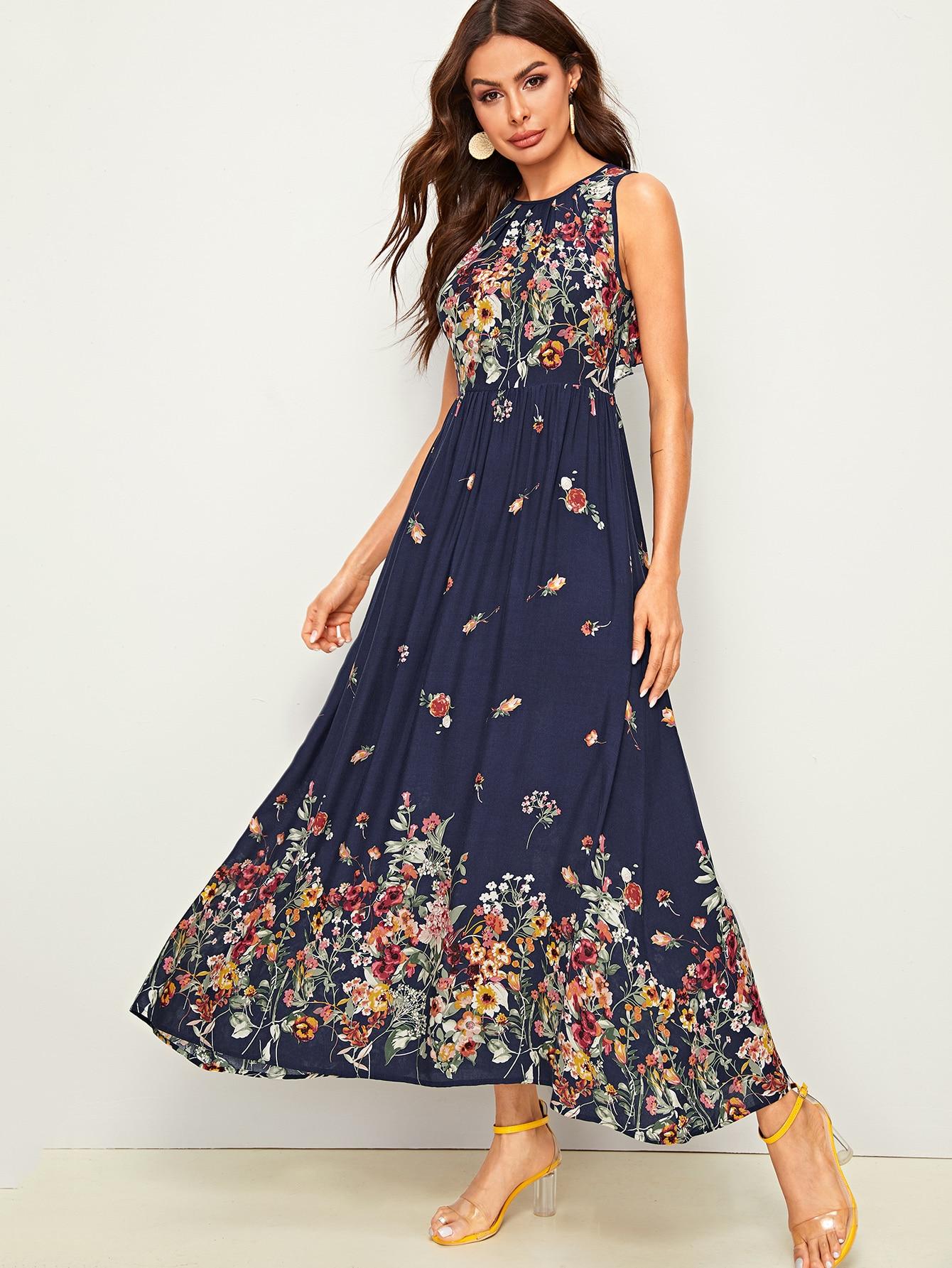 Maxi Kleid mit Blumen Muster, Band hinten und Raffung   SHEIN