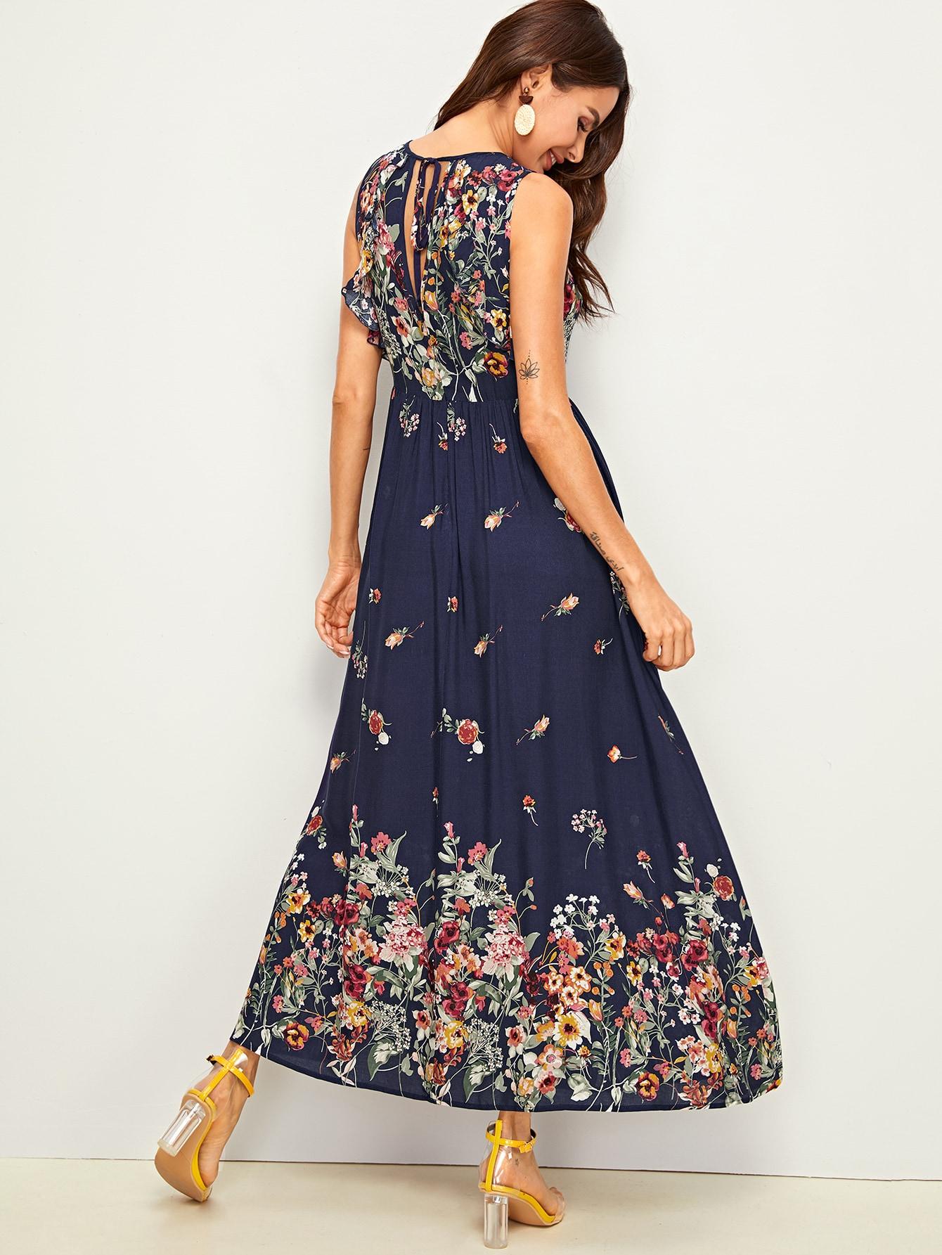 Maxi Kleid mit Blumen Muster, Band hinten und Raffung | SHEIN