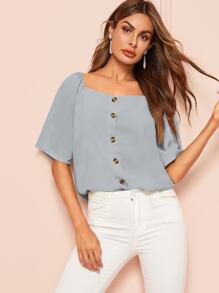 Square Neck Single Breasted Blouse