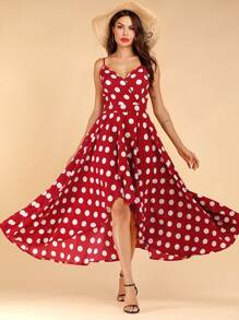Dot Print Tulip Hem Surplice Cami Dress