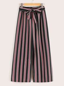 Striped Bow Tie Wide Leg Pants