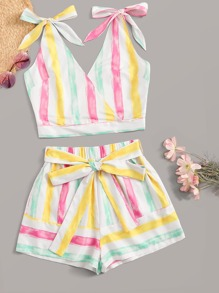Colorful Stripe Bow Tie Top & Tie Waist Shorts