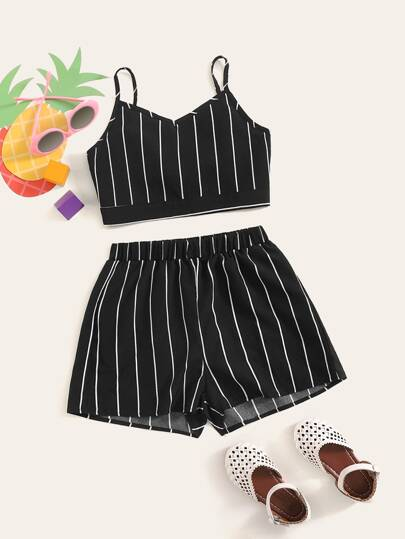 52eb70d8b Girls Striped Crop Cami Top and Shorts Set