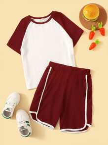 Boys Raglan Sleeve Baseball Tee & Track Shorts Set