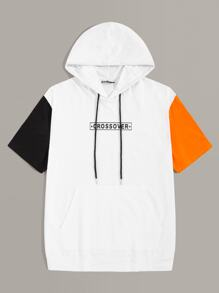 Men Cut-and-sew Letter and Star Print Hooded Tee
