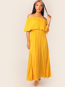 Off Shoulder Ruffle Foldover Pleated Dress