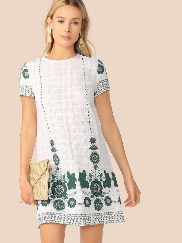 d9e57176 Floral Print Textured Tunic Dress   SHEIN UK