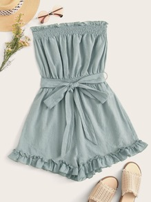 Frill Shirred Detail Ruffle Hem Belted Tube Romper