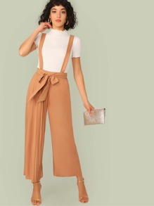 Belted Pleated One Leg Pinafore Jumpsuit