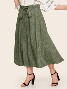 Plus Belted Flare Textured Skirt