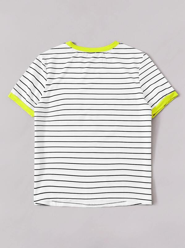 a9783b6dc9 Neon Trim Pocket Patched Striped Ringer Tee | SHEIN