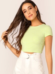 Neon Lime Striped Crop Top