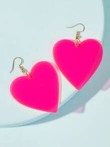 Heart Neon Pink Drop Earrings 1pair