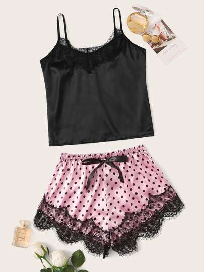 6c4cbd1f115f Eyelash Lace Satin Cami With Polka Dot Shorts