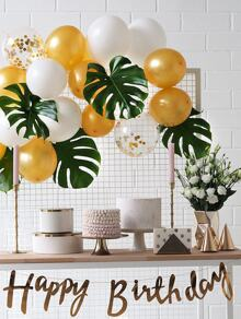 Artificial Tropical Leaf 5pcs & Decorative Balloon 15pcs