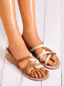 Cross Strap Two Tone Sandals