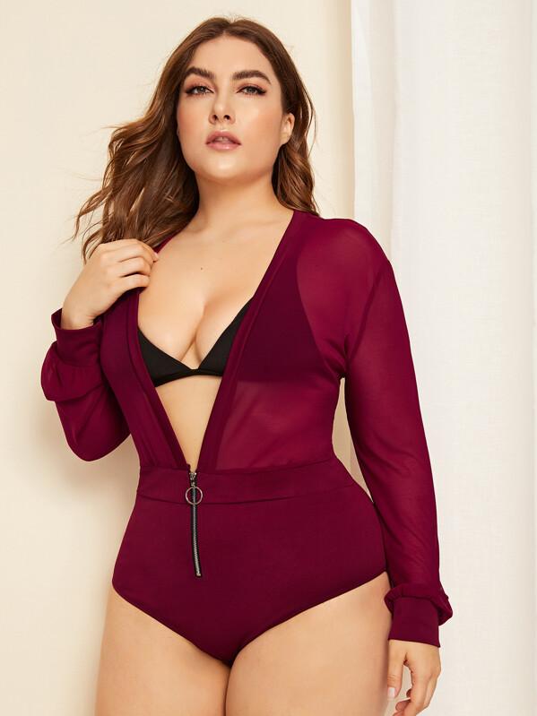 25736291c8 Plus Zipper Long Sleeve Teddy Bodysuit Without Lingerie Set | SHEIN