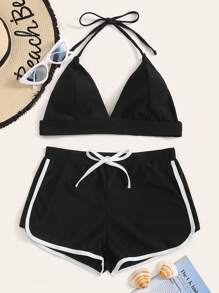 Halter Top With Contrast Binding Shorts Bikini Set