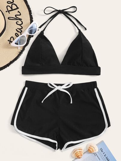 63a3017105 Halter Top With Contrast Binding Shorts Bikini Set
