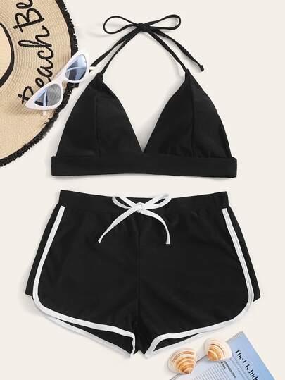 ebfdf53e05e38 Halter Top With Contrast Binding Shorts Bikini Set