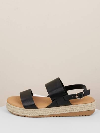 b370f6d410 Two Band Buckle Heel Strap Jute Platform Sandals