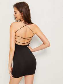 Solid Criss-cross Backless Dress