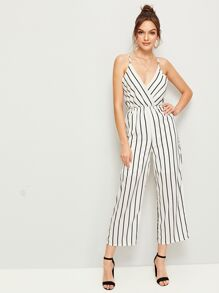Striped Surplice Cami Jumpsuit