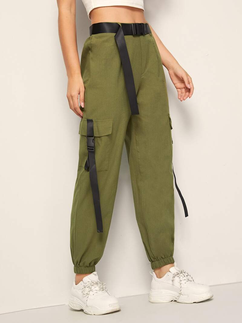 Solid Pocket Detail Belted Utility Pants by Romwe